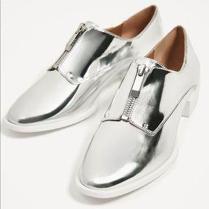 [Zara] Silver Zipped Bulchers Shoes